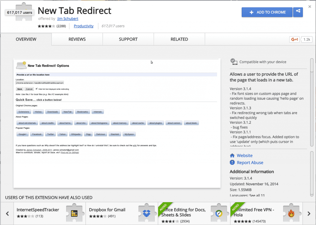 Google Chrome New Tab Extension