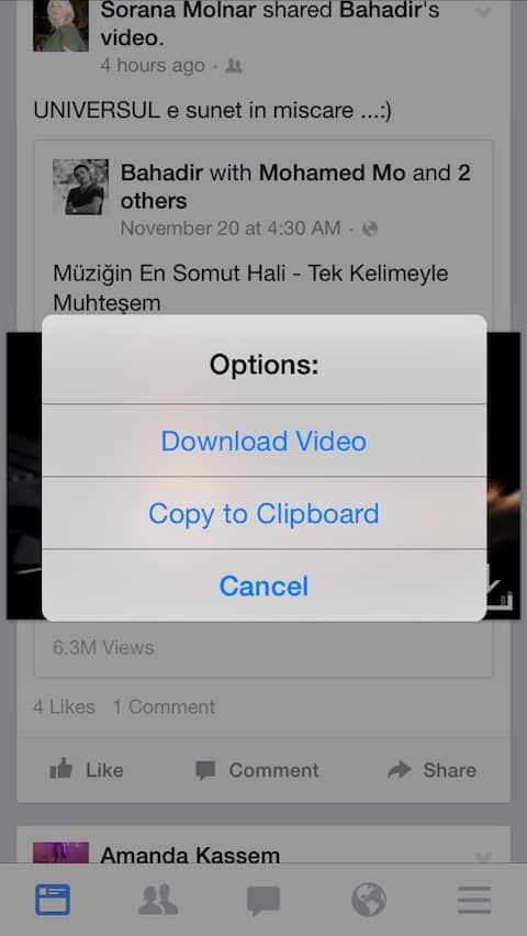 تحميل مقاطع فيديو من الفيس بوك